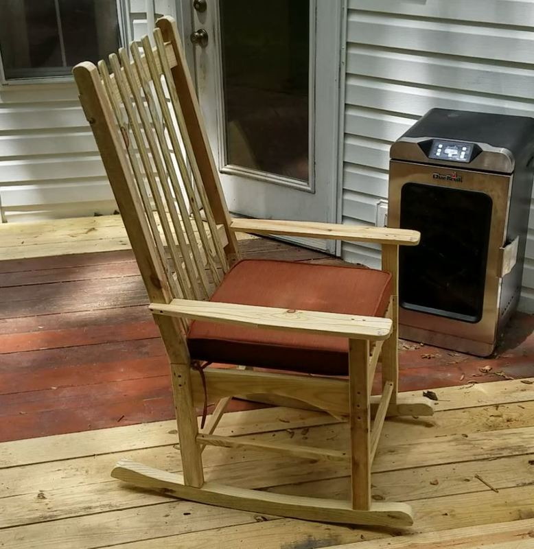 Outdoor rocking chair made from pressure treated lumber