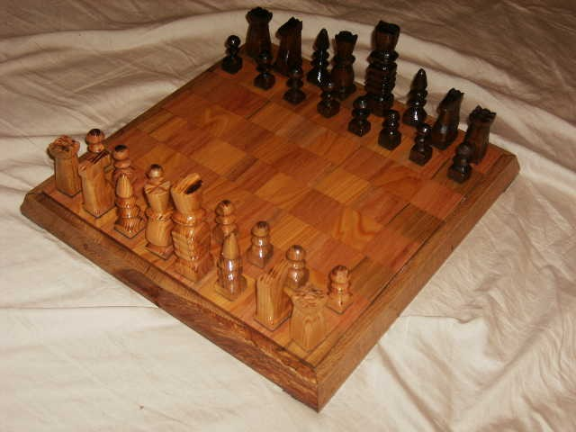 Chess set made with rough cut lumber cut by my Grandfather, Dad and myself
