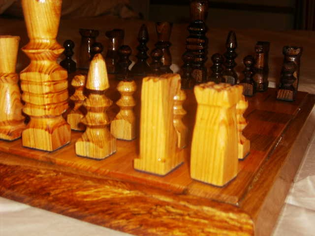 Close up of chess pieces hand carved