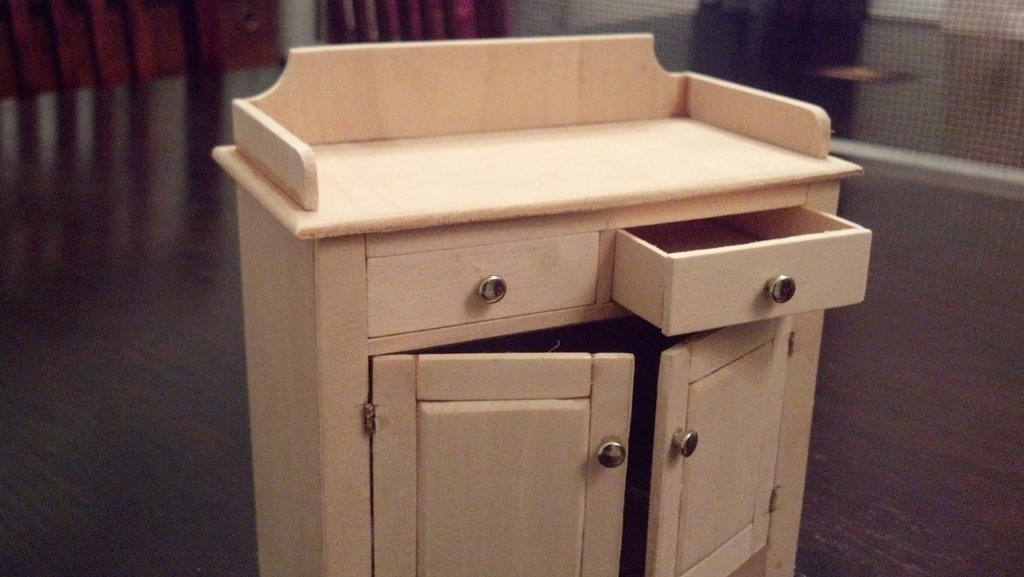scale model dry sink with functioning doors and drawers