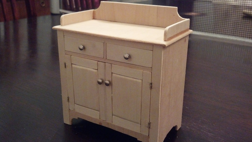 dry sink built to scale with no finish applied