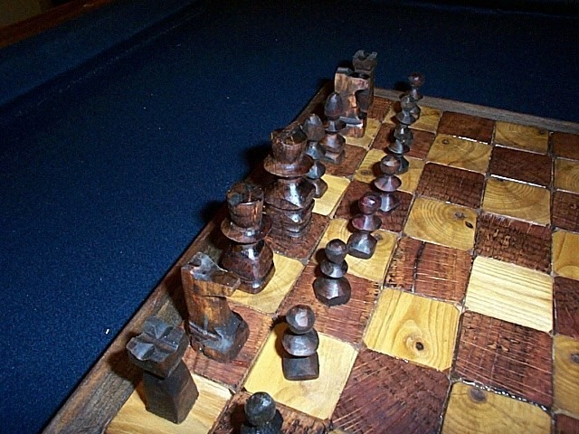 Chess set made with firewood end grain