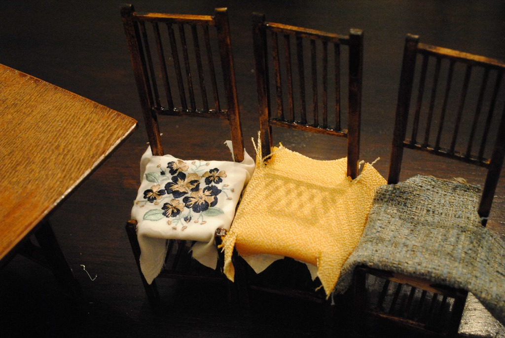 two different seat cushions for the model chairs