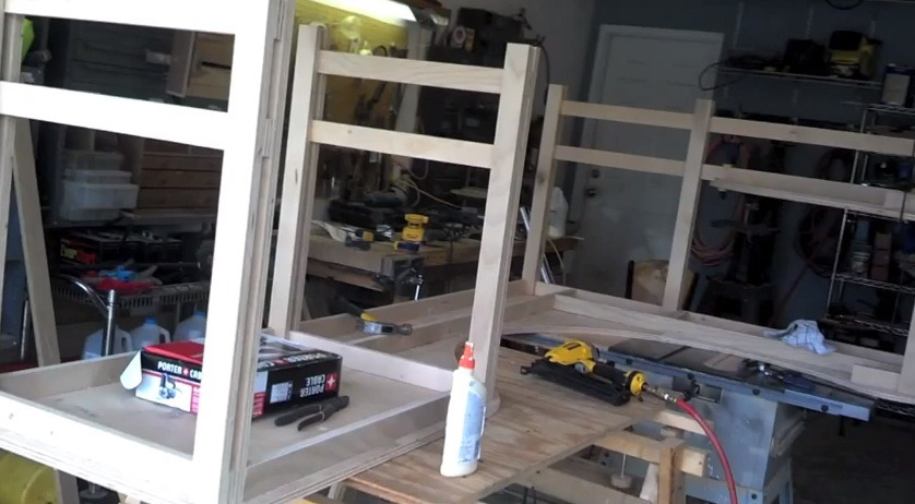 dry fitting all assemblies for the plywood desk