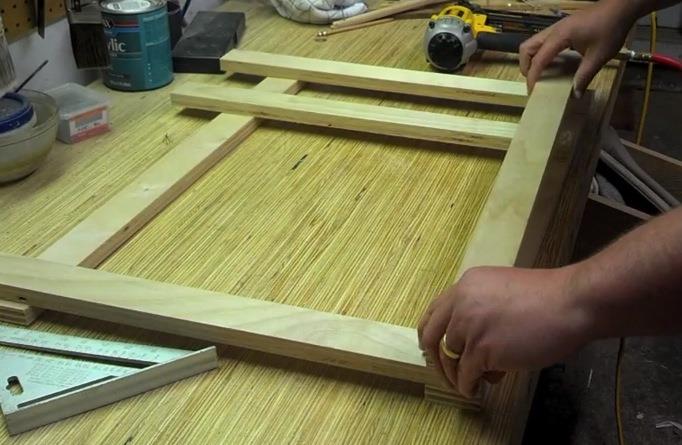 Assembling the leg frames for the plywood desk
