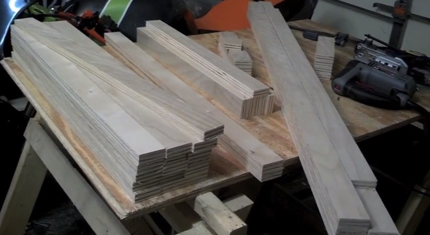 Stacked 2 inch wide strips of plywood