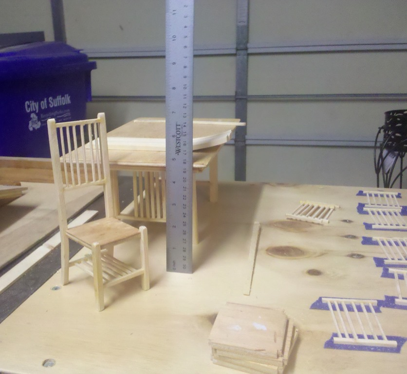 scale table and chairs under construction