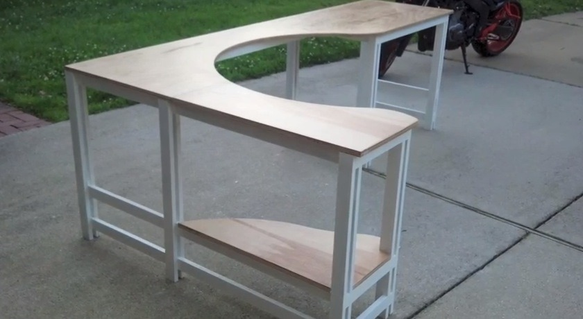 corner desk built with cabinet grade plywood and finished with polycrylic water based paint