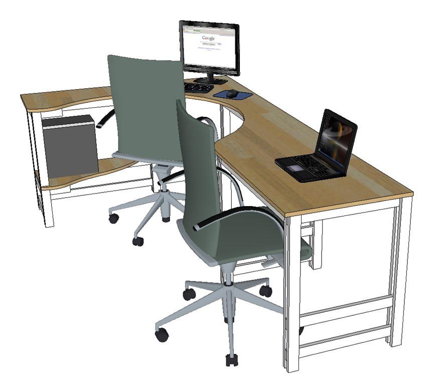 CADD drawing of corner desk