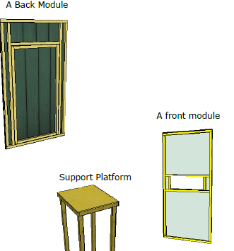 Sketchup drawing of the back module support platform and front module for the deer stand